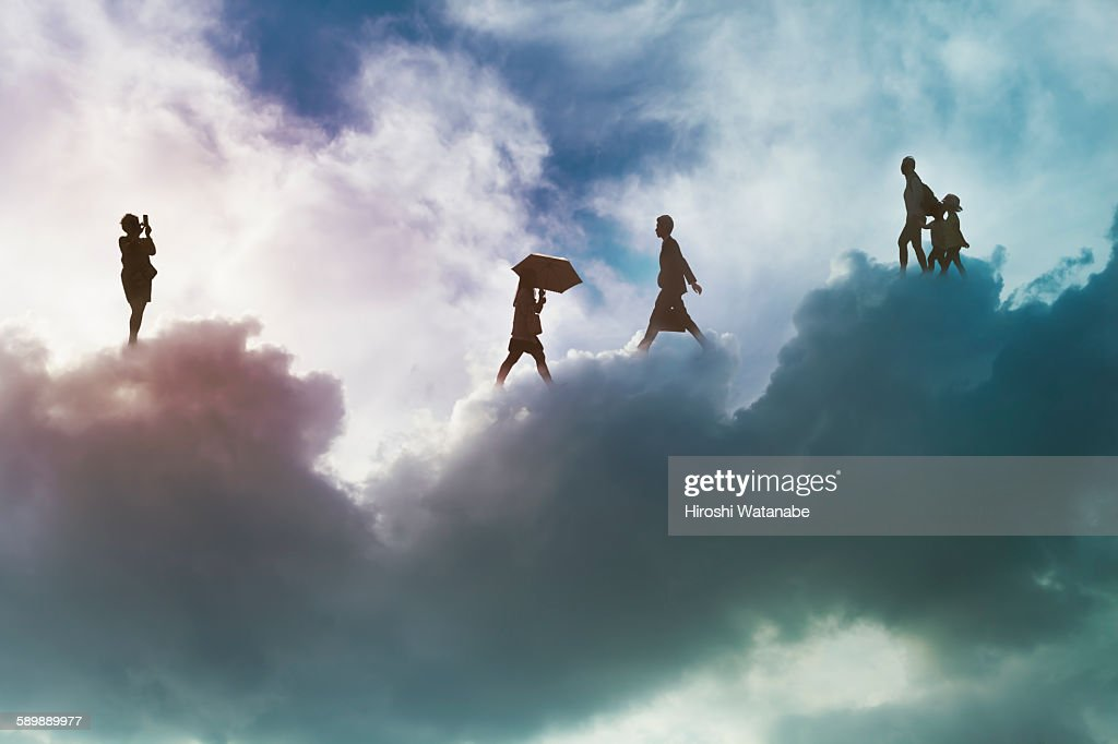 People walking on the cloud : Stock Photo