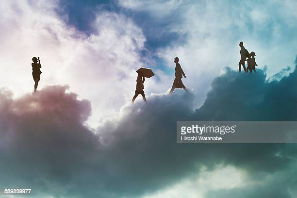 People walking on the cloud