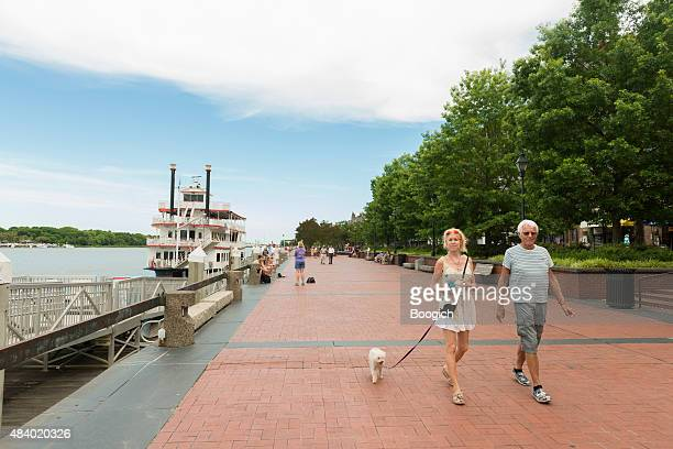 People Walking Riverwalk Savannah Georgia Southern USA Travel Destination