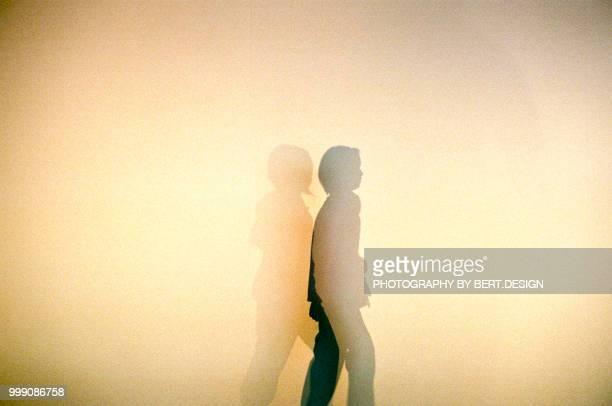 People walking silhouette