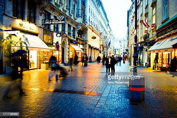 People walking through a shopping district in Vienna, Austria on November 2012.