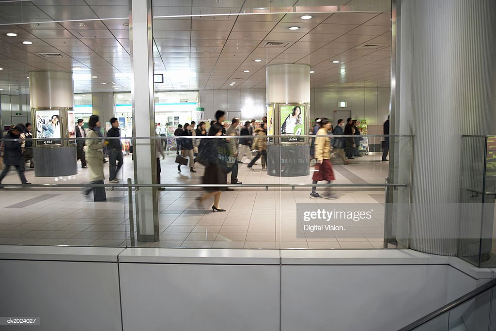 People Walking Through a Shopping Mall, Japan : Stock Photo