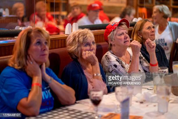 "People watch a broadcast of Fox News showing presidential election returns at an election night watch party organized by group ""Villagers for Trump""..."