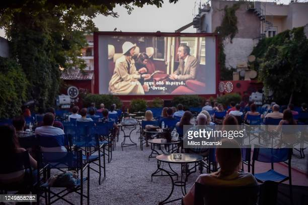 People watch a movie at Zephyros openair cinema as the measures against coronavirus ease on June 15 2020 in Athens Greece The country removed most...