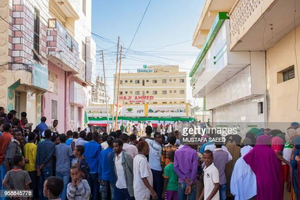 People watch a parade during the celebration of the 27th anniversary of selfdeclared independence of Somaliland in Hargeisa on May 15 three days...
