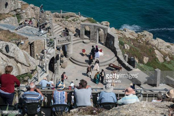 People watch a show at the Minack Theatre near Penzance on June 28 2018 in Cornwall England Parts of the UK are continuing to experience heatwave...