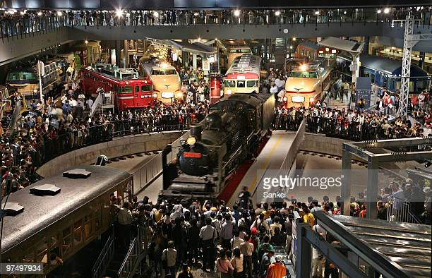 People watch a Steam Locomotive train at newly opened Railway Museum on October 14, 2007 in Saitama, Japan.