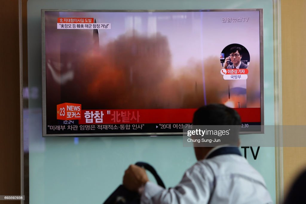 South Korea Reacts To North's Fourth Missile Test In Four Weeks : News Photo