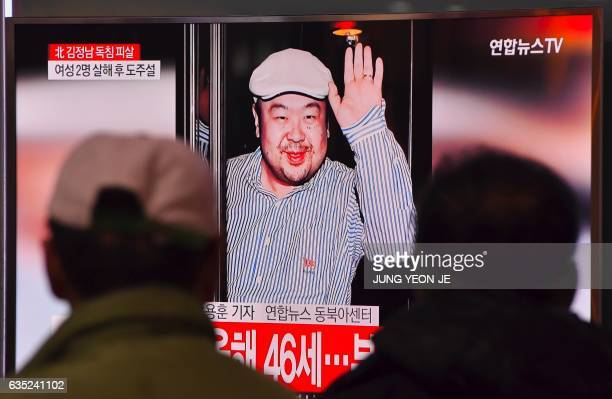 People watch a television showing news reports of Kim JongNam the halfbrother of North Korean leader Kim JongUn at a railway station in Seoul on...