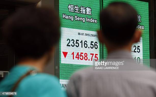 People watch an electronic board showing the Hang Seng Index in Hong Kong on July 8 2015 Hong Kong equities plunged almost six percent July 8 to a...