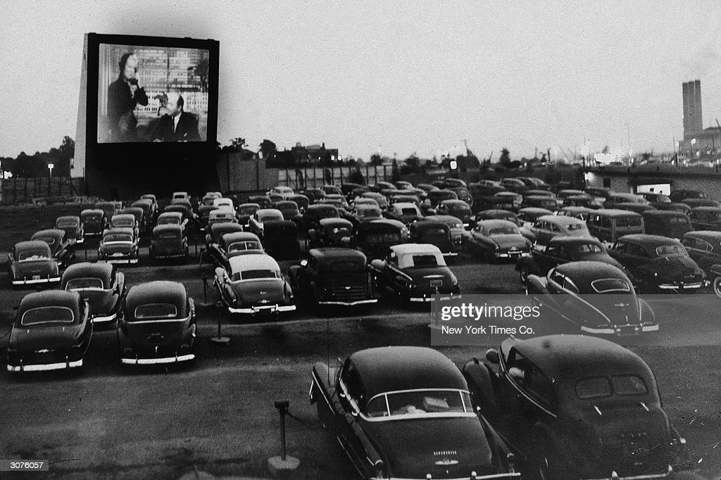 People watch an unidentified movie from inside their cars at the Whitestone Bridge Drive-in Movie Theater, the Bronx, New York, June 20, 1951.