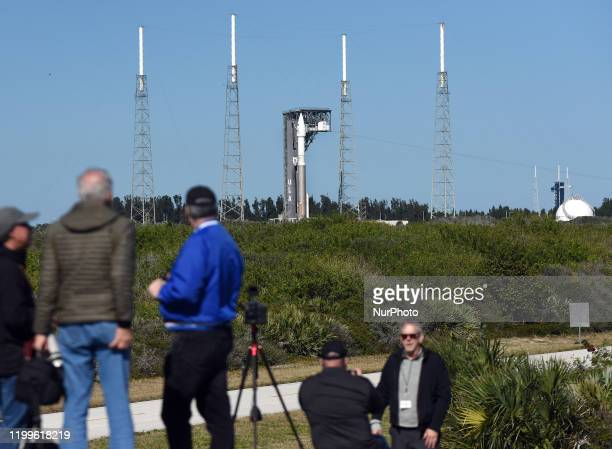 People watch as a United Launch Alliance Atlas V 411 rocket with the Solar Orbiter payload arrives at pad 41 at Cape Canaveral Air Force Station...