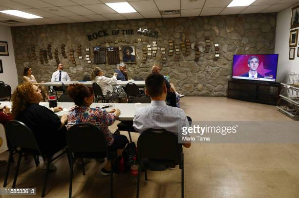 People watch as former El Paso Rep Beto O'Rourke waits to speak during a watch party hosted by the El Paso Democrats for the first night of the...