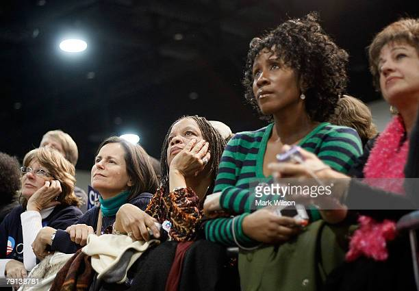 """People watch as Presidential hopeful Sen. Barack Obama speaks during a """"Stand Together For Change"""" rally at the Columbia Metropolitan Convention..."""