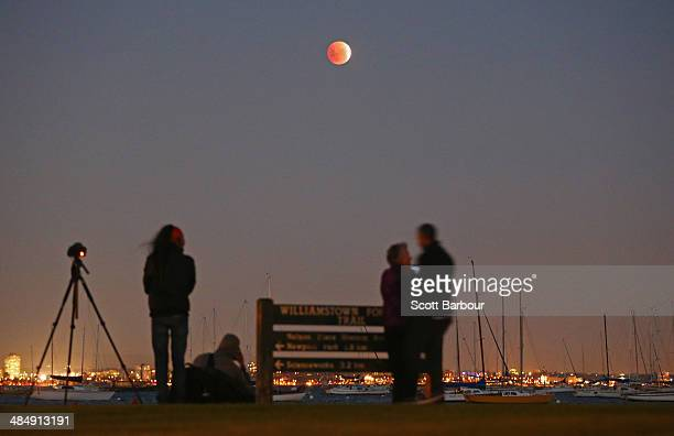 People watch as the 'Blood Moon' rises over the water in Wlliamstown on April 15 2014 in Melbourne Australia The Lunar Eclipse resulting in the Moon...