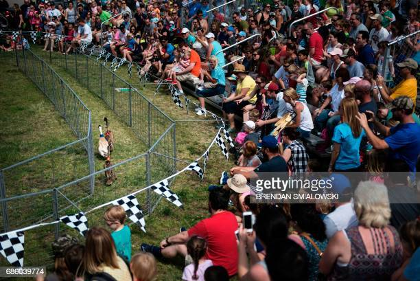 People watch ducks race during the Got to Be NC Festival at the North Carolina State Fairgrounds on May 20 2017 in Raleigh North Carolina / AFP PHOTO...