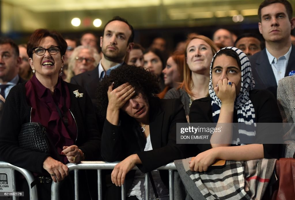 TOPSHOT - People watch elections returns during election night at the Jacob K. Javits Convention Center in New York on November 8, 2016. US Democratic presidential nominee Hillary Clinton will hold her election night event at the convention center. /