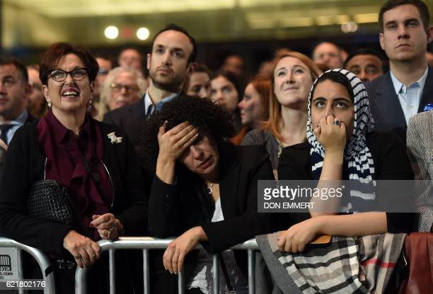 TOPSHOT People watch elections returns during election night at the Jacob K Javits Convention Center in New York on November 8 2016 US Democratic...
