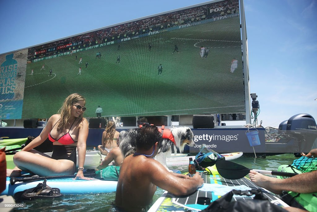 World Cup Fans Gather On Florida Sandbar To Watch Final Between Croatia And France