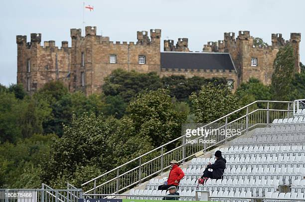 People watch from a stand during day one of the LV County Championship Division One match between Durham and Nottinghamshire at the Emirates ICG...