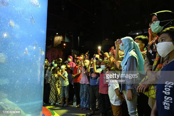 People watch piranha fish as they visit the SeaWorld Ancol in Jakarta on December 26, 2020.