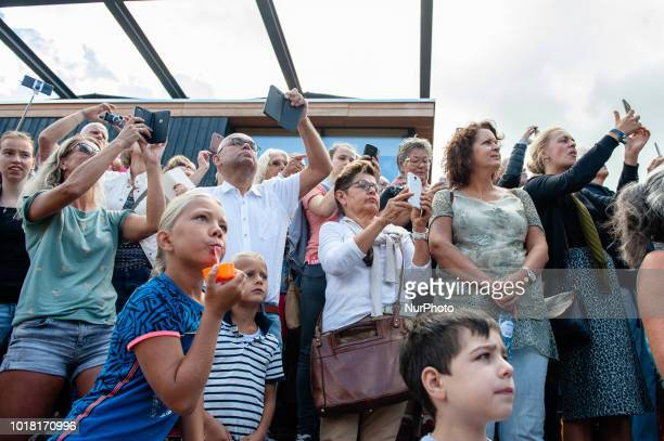 People watch the French street theatre company Royal de Luxe parades through the streets in the European Capital of Culture 2018 Leeuwarden The...