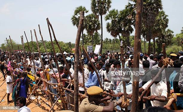 RAMESHWARAM TAMILNADU INDIA People watch the funeral ceremony of former President APJ Abdul Kalam at the Pei Karumbu ground