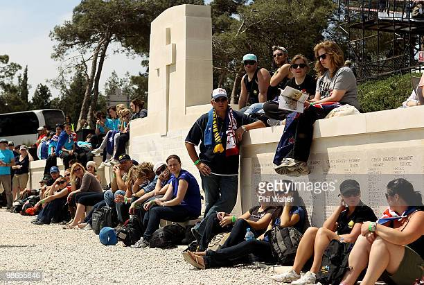 People watch the New Zealand Commemorative Service at Chunuk Bair on April 25 2010 in Gallipoli Turkey Today commemorates the 95th anniversary of...