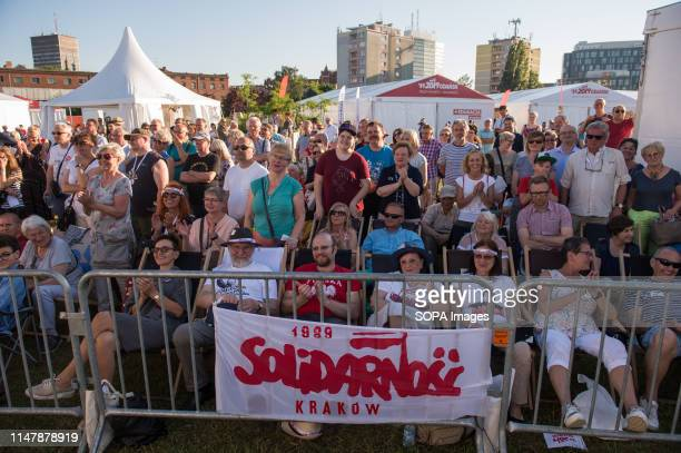 People watch the panel discussion that's part of the 30th Anniversary of free elections in Poland during the week long celebrations Gdansk in the...