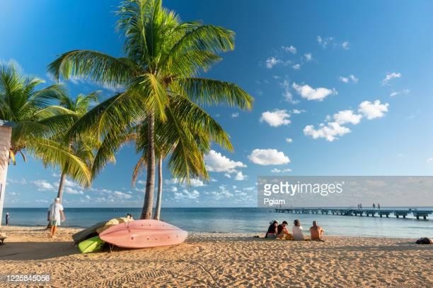 les gens regardent le coucher du soleil sur la plage key west florida - florida keys photos et images de collection