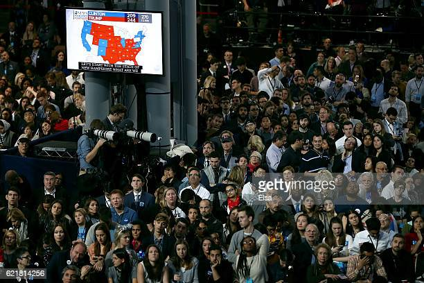 People watch voting results at Democratic presidential nominee former Secretary of State Hillary Clinton's election night event at the Jacob K....