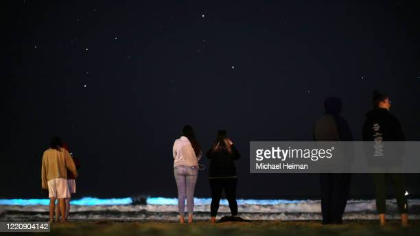 People watch waves glow blue due to bioluminescence at night on April 24 2020 in Newport Beach California Bioluminescence is a phenomenon caused by...
