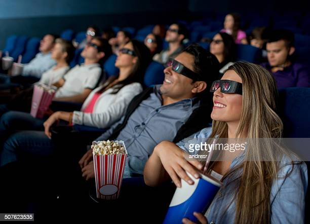 People watching a 3D movie