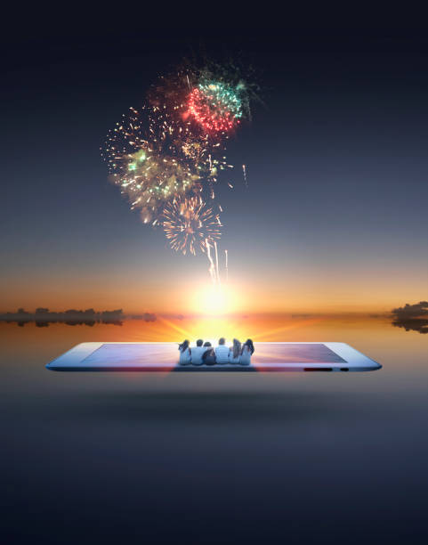 People Watching Fireworks Erupt From Digital Tablet Wall Art