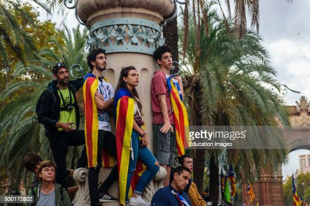 People watching in Luis Companys avenue the speech of Carles Puigdemont about Independence of Catalonia Spain
