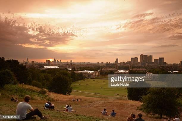 People watching sunset, Greenwich, London, England