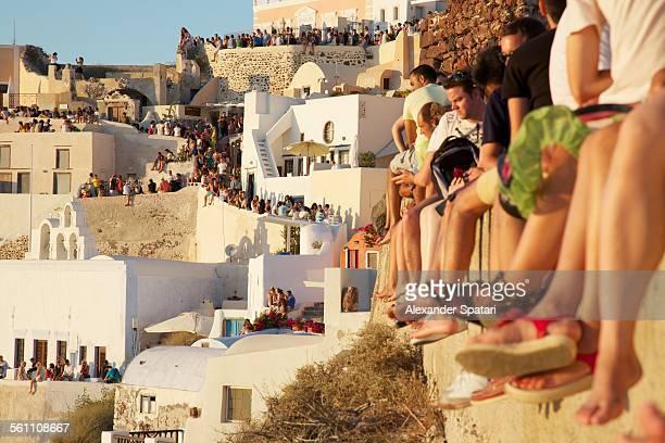 People watching sunset in Oia, Santorini, Greece