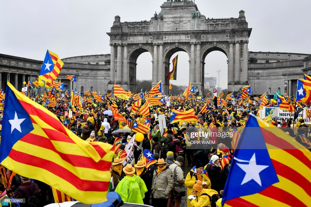 BELGIUM-SPAIN-CATALONIA-POLITICS-DEMO : News Photo