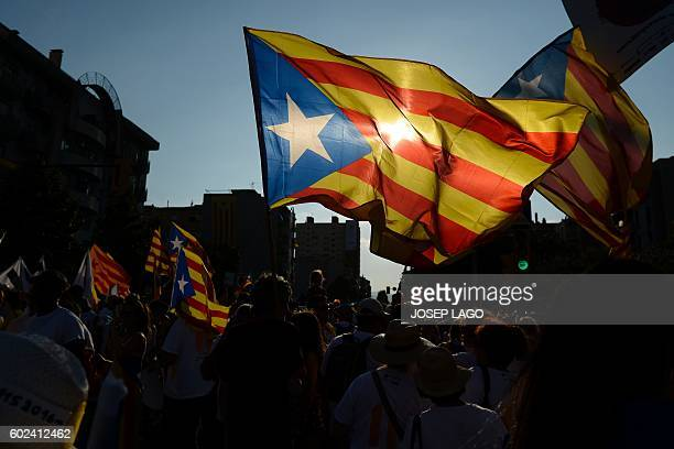 People wave 'Esteladas' as they gather during a proindependence demonstration on September 11 in Barcelona during the National Day of Catalonia...