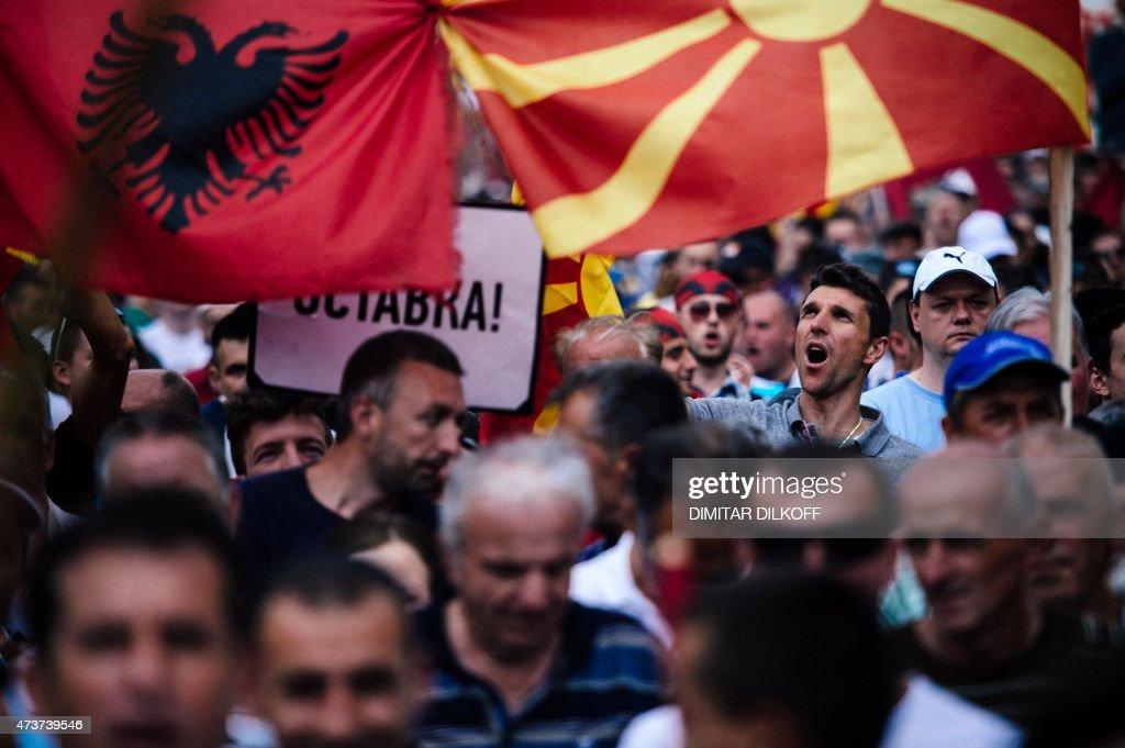 MACEDONIA-POLITICS-PROTEST : News Photo