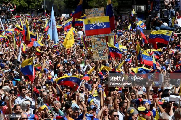 People wave Venezuelan flags during a demonstration organized by Juan Guaidó President of the Venezuelan National Assembly at Francisco de Miranda...