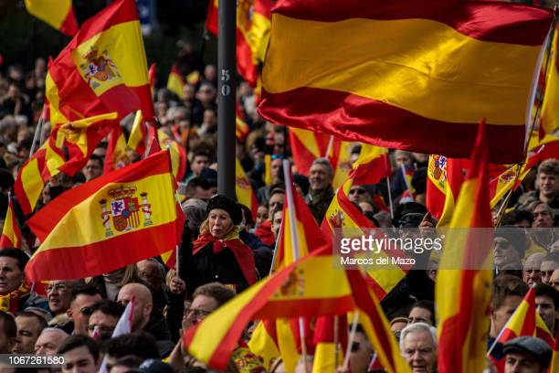 People waving Spanish flags during a demonstration supported by farright party VOX against Catalan separatists and against Prime Minister Pedro...