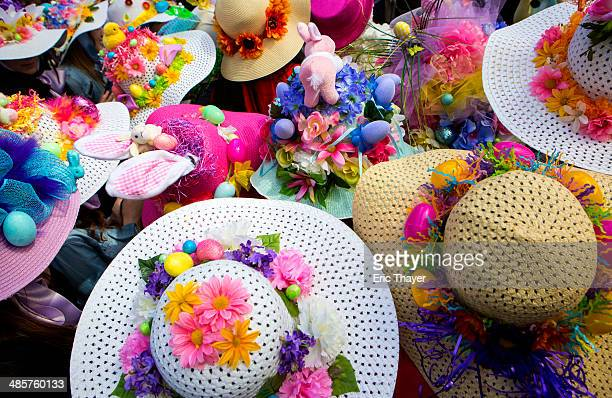 People wear bonnets during the Easter Parade and Bonnet Festival along 5th Avenue in New York The parade is a New York tradition dating back to the...