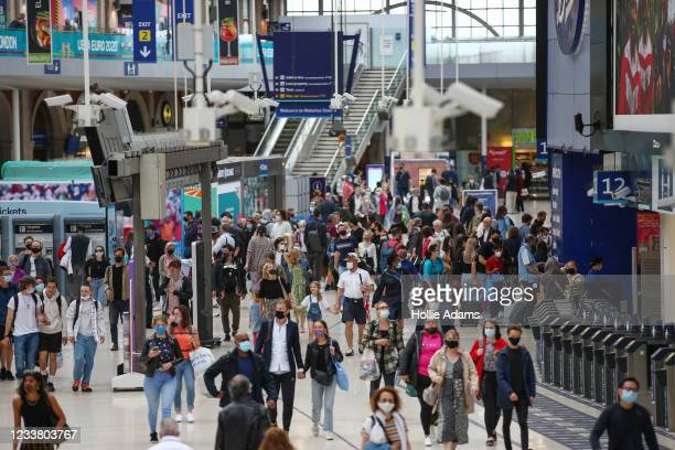 People wear masks at Waterloo Station on July 4, 2021 in London, England. Robert Jenrick, British minister for housing communities and local...