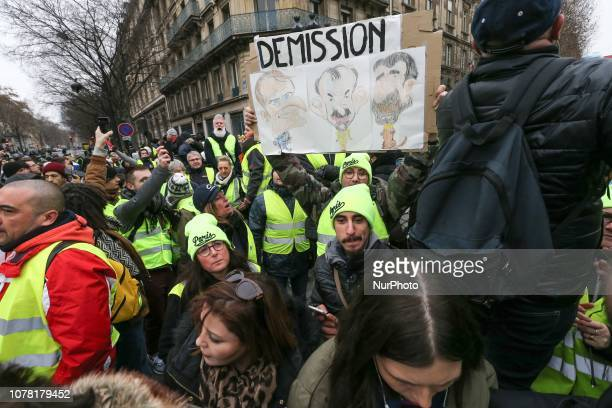 People wearing a yellow vest gather in front the Town Hall of Paris on January 5 2019 during a demonstration called by the yellow vests movement for...
