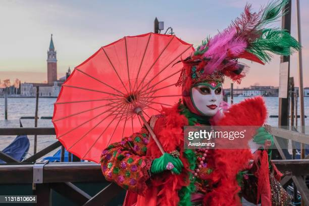 People wearing carnival costumes pose at sunrise in St Mark square on February 24 2019 in Venice Italy The theme for the 2019 edition of Venice...