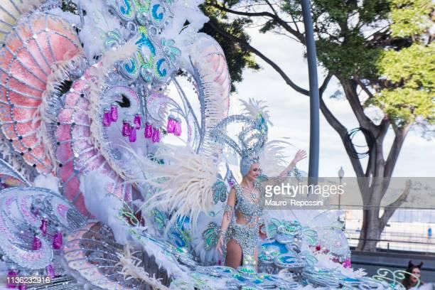 mensen dragen kostuums tijdens de carnaval viering in de straten van santa cruz de tenerife stad, canarische eiland, spanje. - tenerife stockfoto's en -beelden