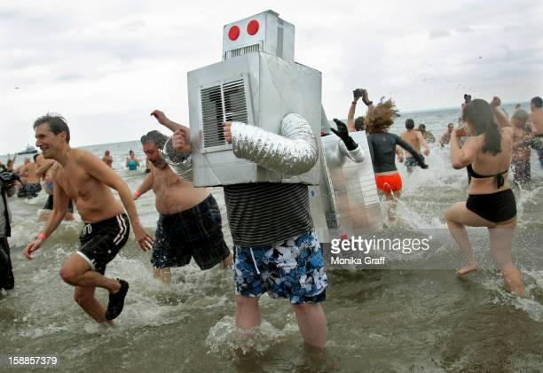 People wearing costumes take part in the Coney Island Polar Bear Club's New Year's Day swim on January 1 2013 in the Coney Island neighborhood of the...