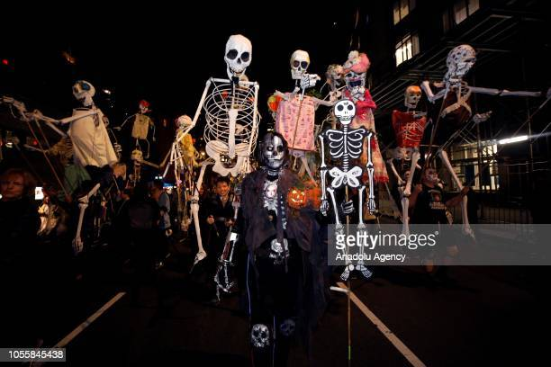 People wearing different costumes march during Halloween Parade in Lower Manhattan of New York United State on October 31 2018