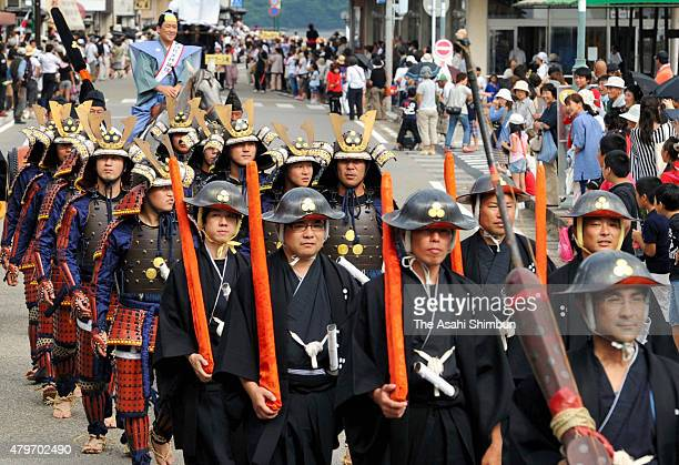 People wearing Edoera soldiers costumes march on during the parade to mark the Hirado Dutch Trading Post restoration on September 17 2011 in Hirado...